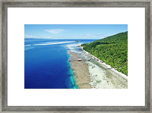 Aerial View Of Island Jetty With Sea Framed Print
