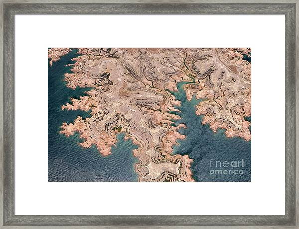 Aerial View Of Lake Mead From Above Framed Print