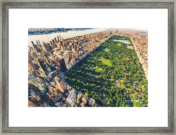 Aerial View Of Manhattan New York Framed Print