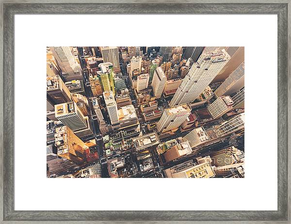 Aerial View Of Midtown Manhattan At Framed Print