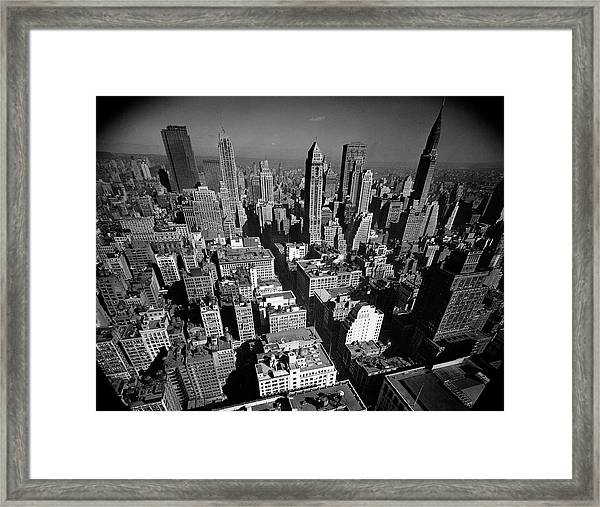 Aerial View Of New York City Looking Framed Print