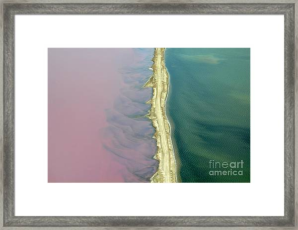 Aerial View Of Road Between Commercial Framed Print