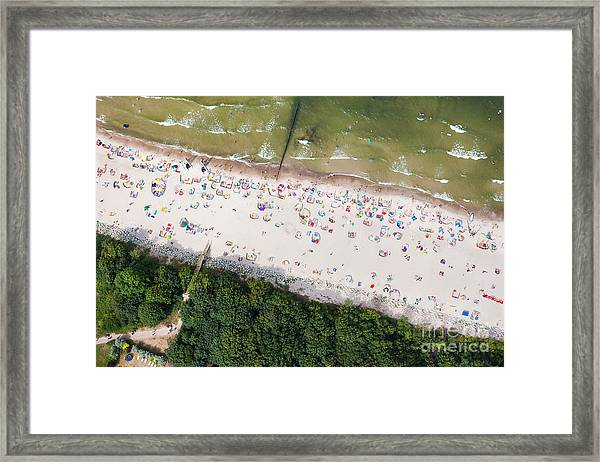 Aerial View Of Sandy Polish Beach On Framed Print