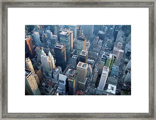 Aerial View Of Skyscrapers In New York Framed Print