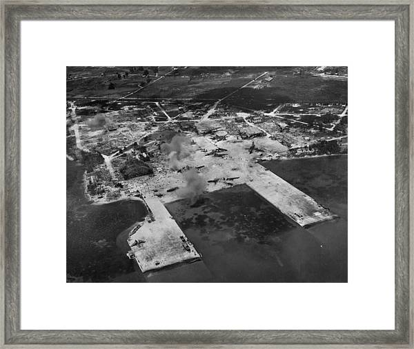 Aerial View Of Smoke From Us Artillery Framed Print by W. Eugene Smith