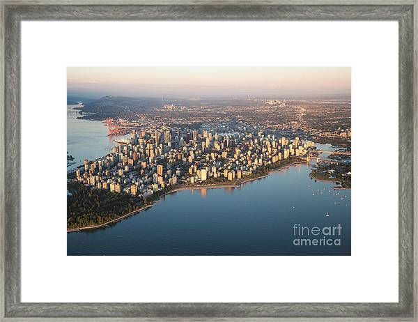 Aerial View Of Stanley Park And Framed Print