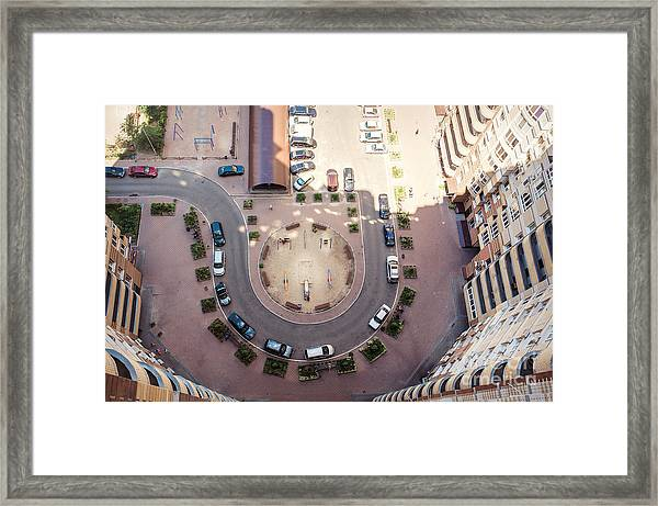 Aerial View Of The Lot Of Cars Near Framed Print
