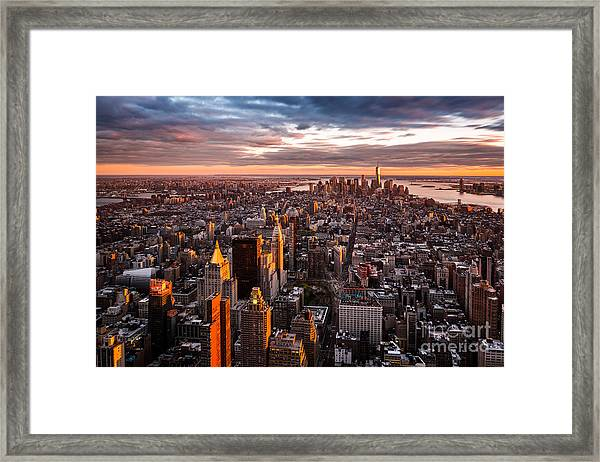 Aerial View Of The Manhattan Skyline At Framed Print