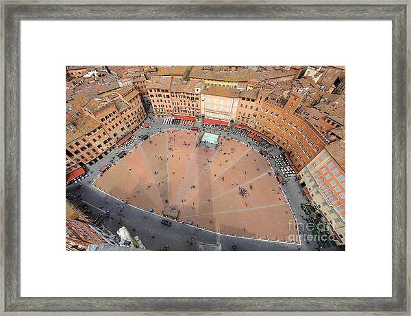 Aerial View Of The Piazza Del Campo Framed Print