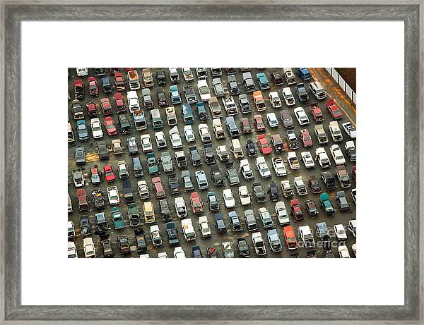 Aerial View Of Wrecked Cars In Framed Print