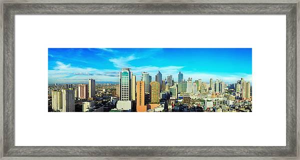 Aerial View On Makati City - Modern Framed Print