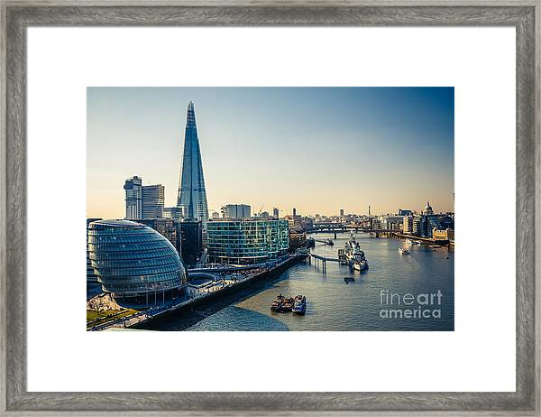 Aerial View On Thames And London City Framed Print