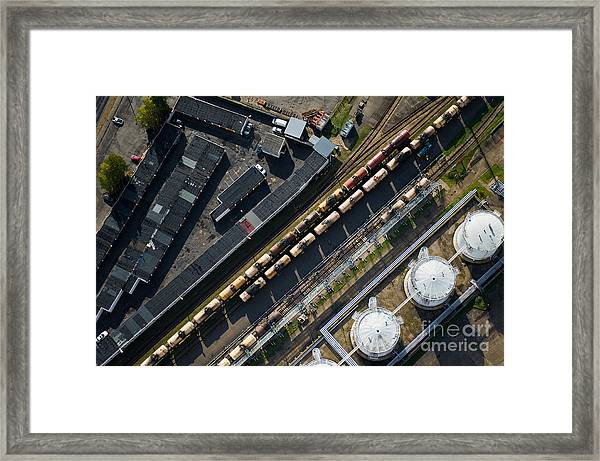 Aerial View Over The Railway Framed Print