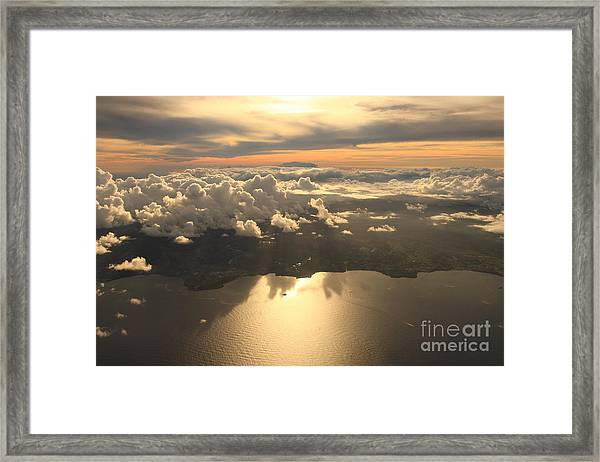 Aerial View Sunset Over Antigua In The Framed Print