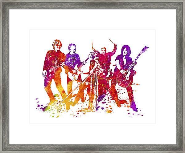 Aerosmith Band Watercolor Splatter 01 Framed Print