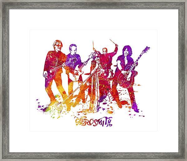 Aerosmith Band Watercolor Splatter 02 Framed Print