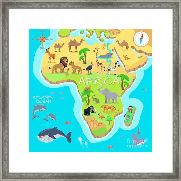 Africa Mainland Cartoon Map With Local Framed Print