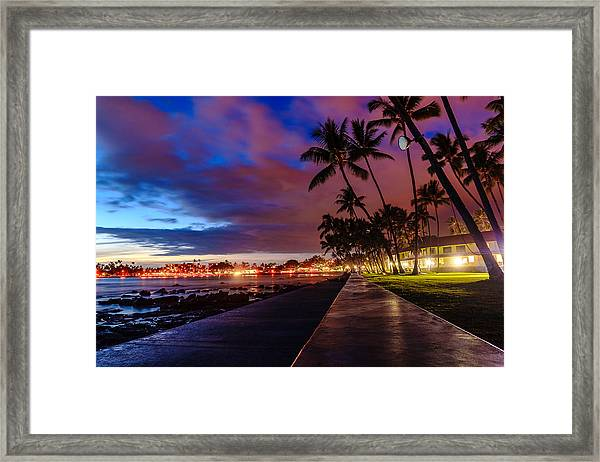 After Sunset At Kona Inn Framed Print