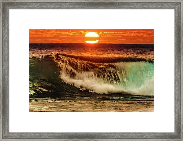 Ahh.. The Sunset Wave Framed Print