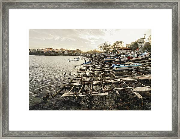 Framed Print featuring the photograph Ahtopol Fishing Town by Milan Ljubisavljevic