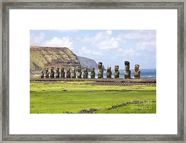 Ahu Tongariki - The Largest Ahu On Framed Print
