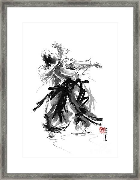 Aikido Art Bushido Poster Japanese Painting Sumi-e Matrial Arts Print Framed Print