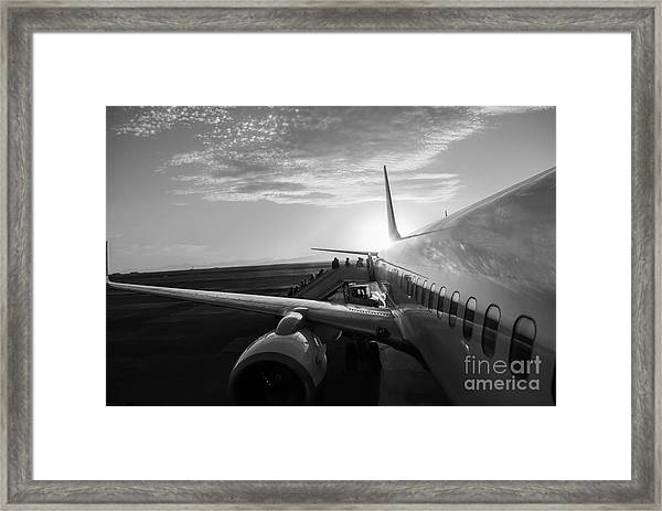Aircraft In Airport At Sunset Framed Print