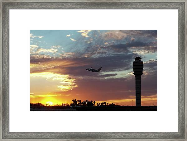 Airliners Taking Off At Orlando Framed Print