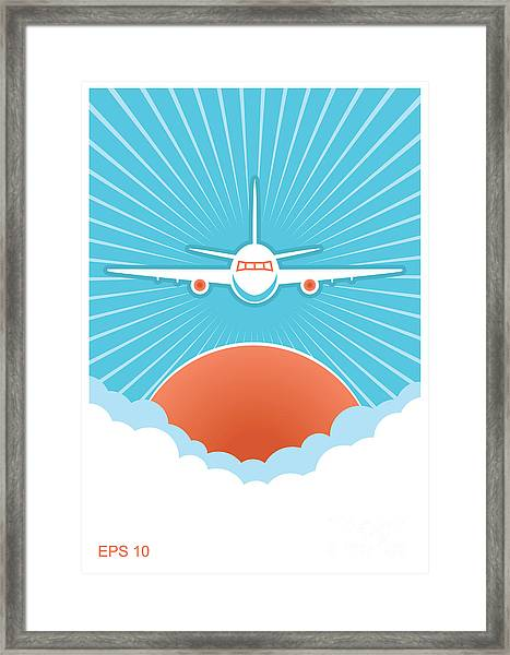 Airplane In Blue Sky And Sun.vector Framed Print