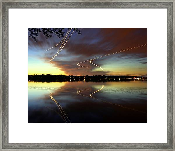 Airplanes Over Lake Harriet At Framed Print