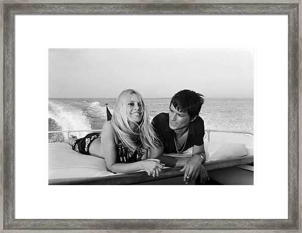 Alain Delon And Brigitte Bardot In Framed Print