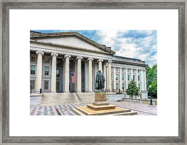 Albert Gallatin Statue, Us Treasury Framed Print by William Perry