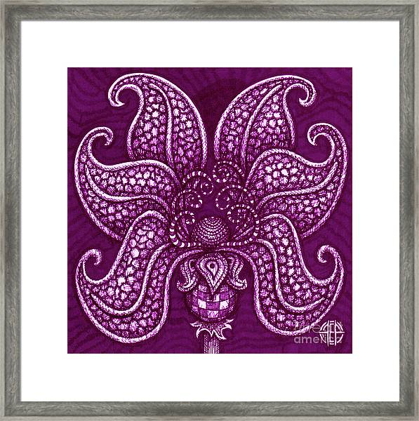 Framed Print featuring the drawing Alien Bloom 20 by Amy E Fraser
