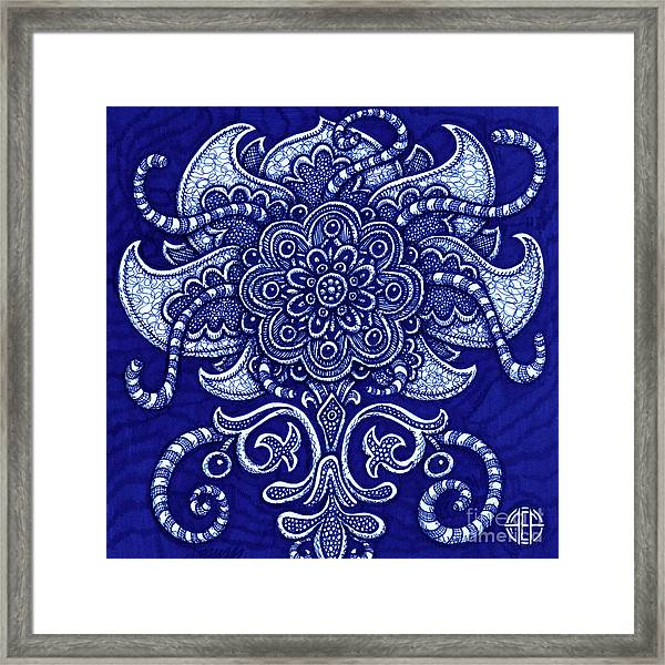 Framed Print featuring the drawing Alien Bloom 22 by Amy E Fraser