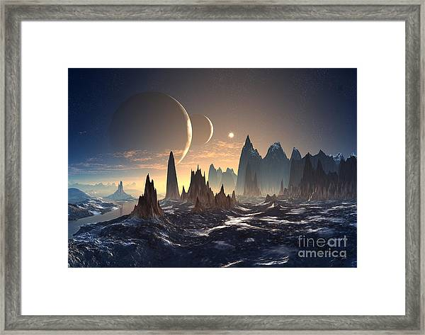 Alien Planet With Two Moons Framed Print