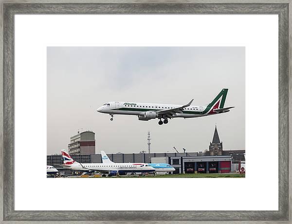 Alitalia Embraer 190 Bird Near Miss Framed Print