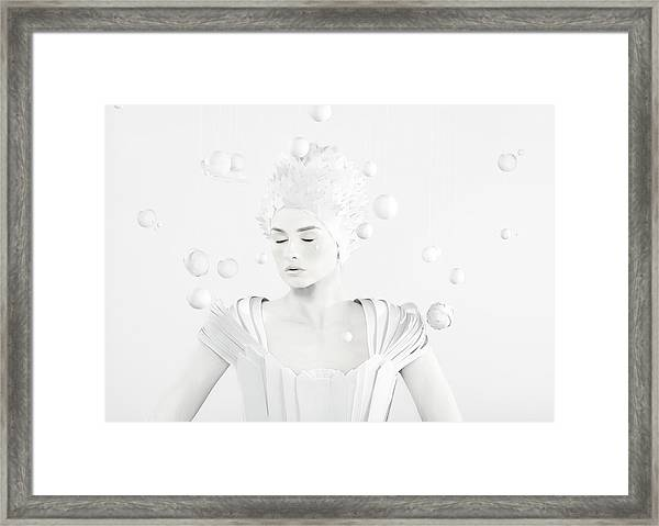 All White Woman In The Center Of Planets Framed Print