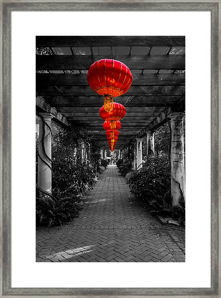 Along The Red Path Framed Print by Christine Buckley
