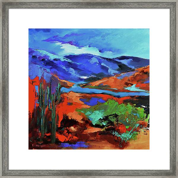 Framed Print featuring the painting Along The Trail - Arizona by Elise Palmigiani