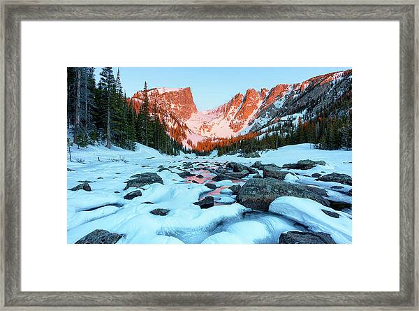 Alpenglow At Dream Lake Rocky Mountain National Park Framed Print