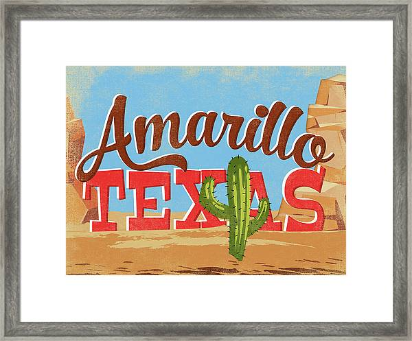 Amarillo Texas Cartoon Desert Framed Print