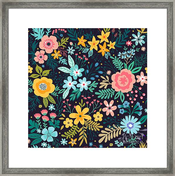 Amazing Floral Pattern With Bright Framed Print