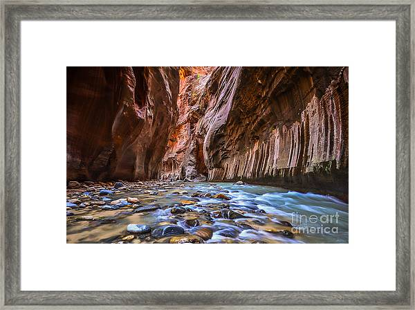 Amazing Landscape Of Canyon In Zion Framed Print