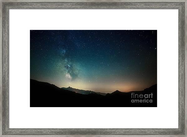 Amazing Night Sky Stars Panorama With Framed Print