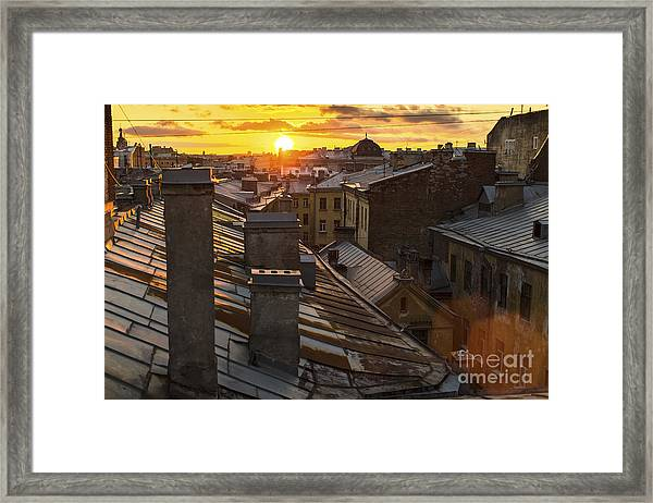 Amazing Sunset On The Roofs Of Framed Print
