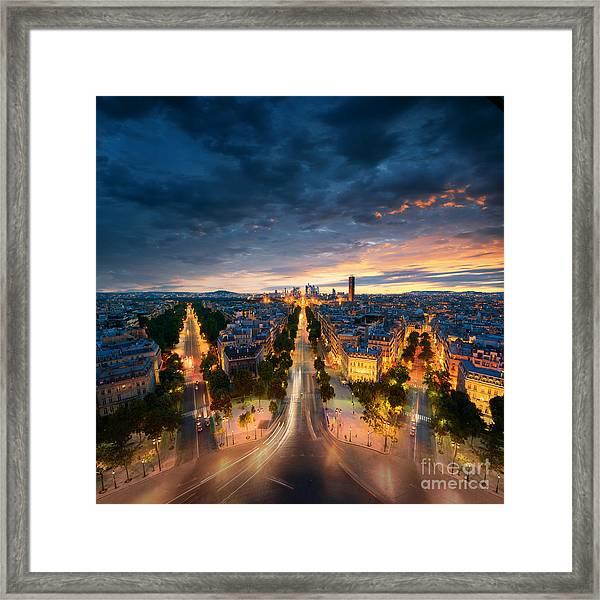 Amazing View To Night Paris Framed Print