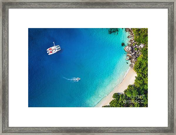 Amazing View To Yacht In Bay With Beach Framed Print