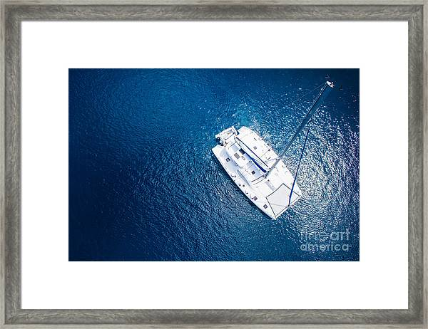 Amazing View To Yacht Sailing In Open Framed Print