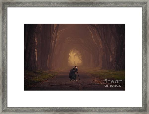 Ambitious Photographer In The Scenic Framed Print