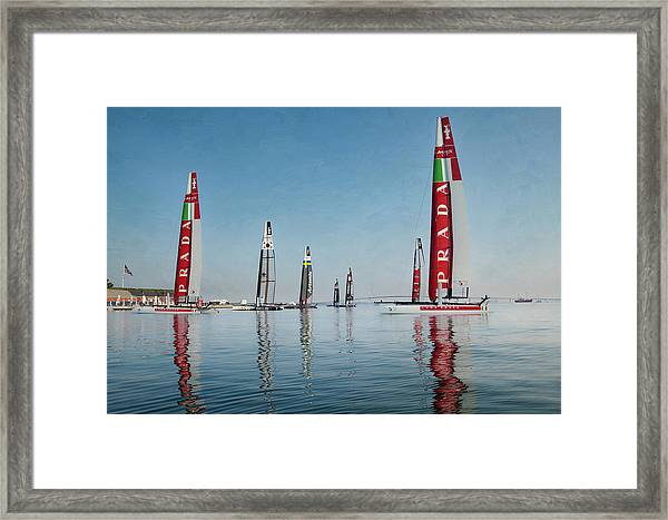 America Cup Boat Reflections Framed Print